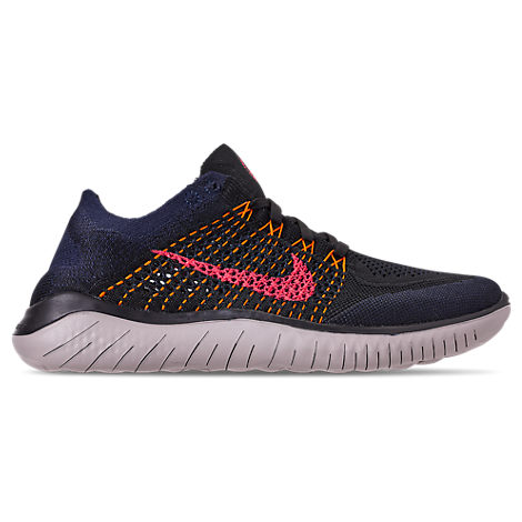 41511bd61df Nike Men s Free Rn Flyknit 2018 Running Sneakers From Finish Line In Black Flash  Crimson