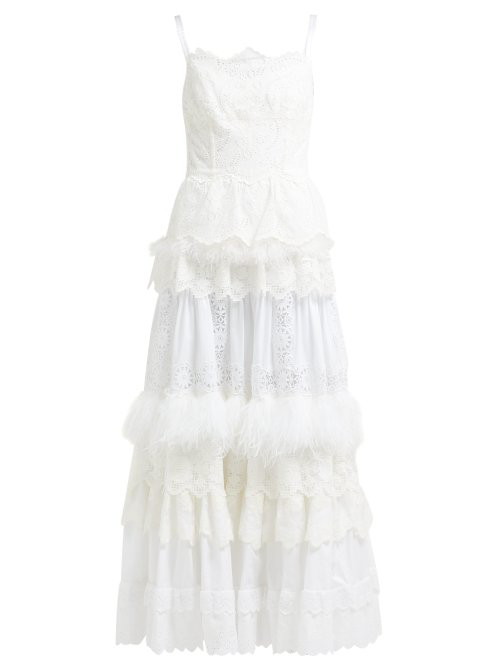 Dolce & Gabbana Floral Cotton-Blend Broderie Anglaise Gown In White