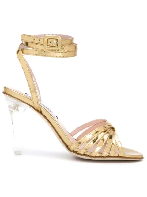 Leandra Medine Caged Heeled Sandals In Gold
