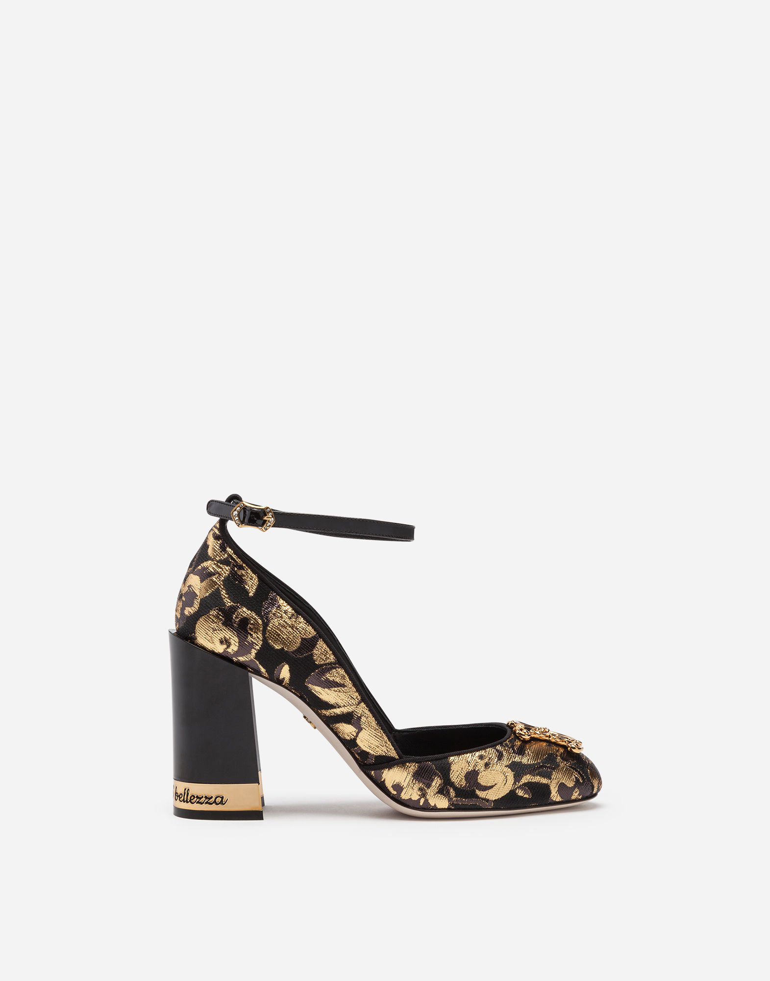 77d60cc0e0 Dolce & Gabbana Jacquard Pumps With Strap And Dg Logo In Gold | ModeSens