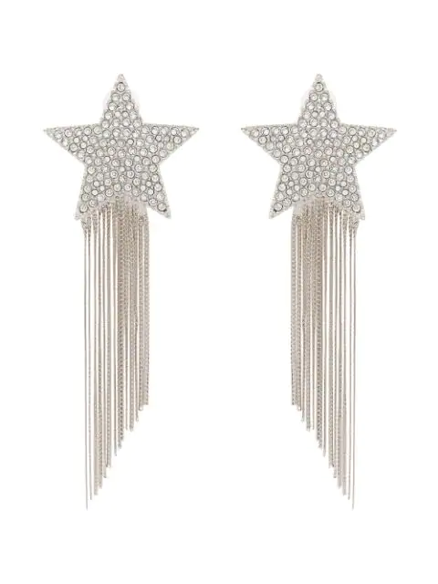 Saint Laurent Silver Metallic Shooting Star Tassel Drop Earrings In 8162 Pallad