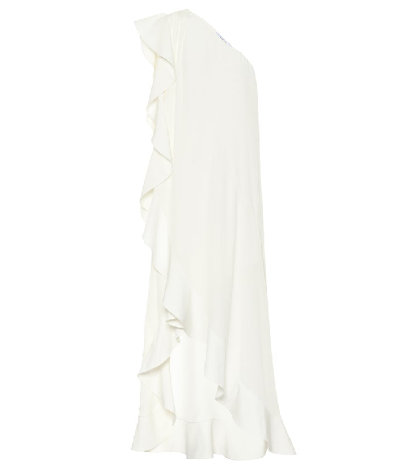 Givenchy Ruffled Silk Crepe De Chine Dress In White
