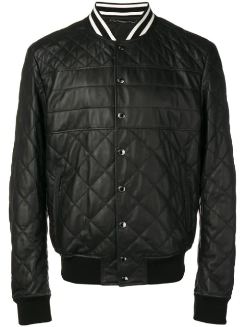Dolce & Gabbana Quilted Bomber Jacket In Black