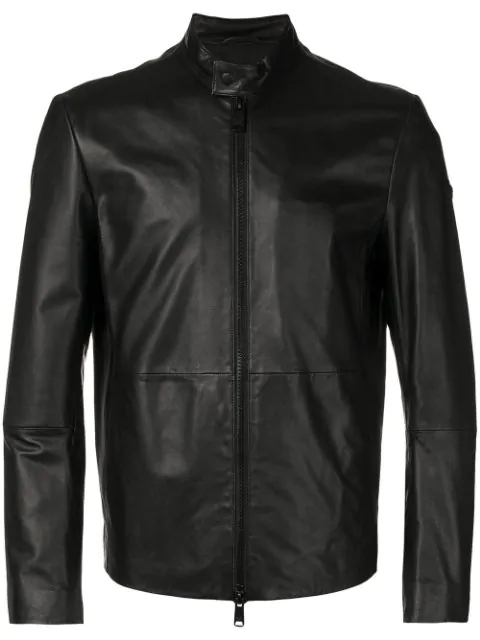 Emporio Armani Biker-collar Leather Jacket In Black