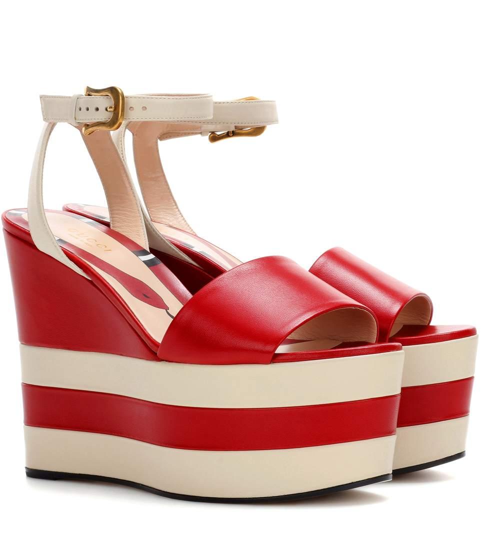 d97af22fa65 Gucci Leather Platform Sandals In Hil.Red