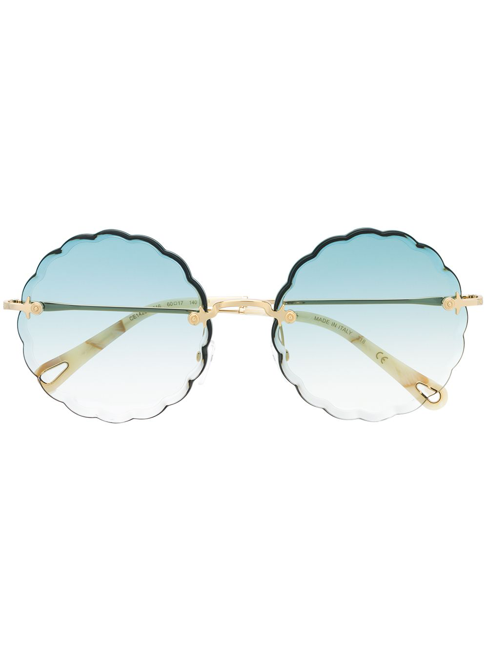 Chloé Rosie Scalloped Round-frame Sunglasses In 蓝色