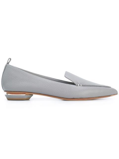 Nicholas Kirkwood 'Beya' Metal Heel Leather Skimmer Loafers In Gray