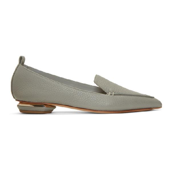 Nicholas Kirkwood 'Beya' Metal Heel Leather Skimmer Loafers In N32 Grey