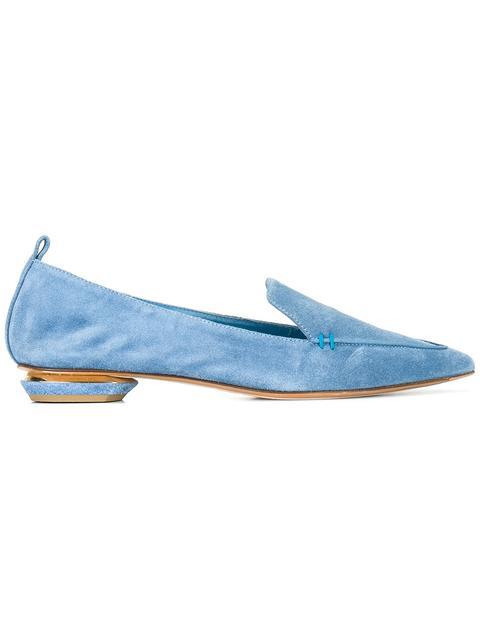 Nicholas Kirkwood 'Beya' Metal Heel Suede Skimmer Loafers In Blue