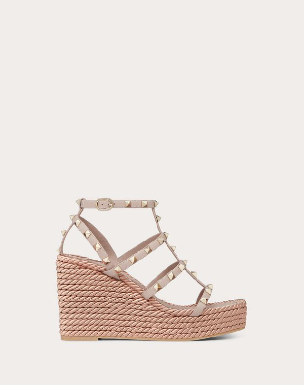 e72fe44d002 Rockstud Leather Espadrille Wedge Sandals in Nude