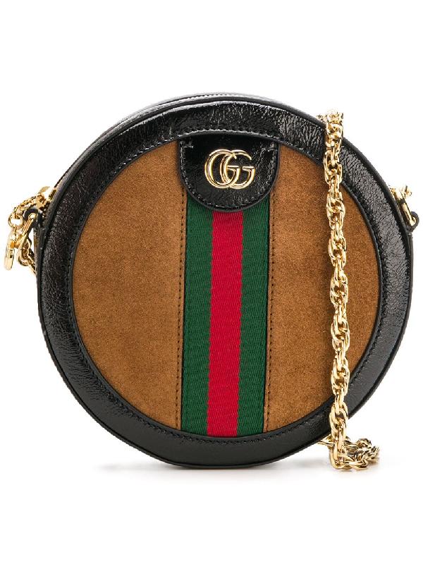 dc47aaf42e5308 Gucci Mini Ophidia Round Shoulder Bag - Brown In 2863 Nocciola/Nero/Vrv