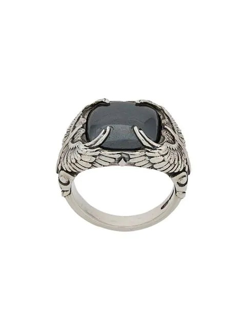Nove25 Stone Wings Signet Ring In Silver