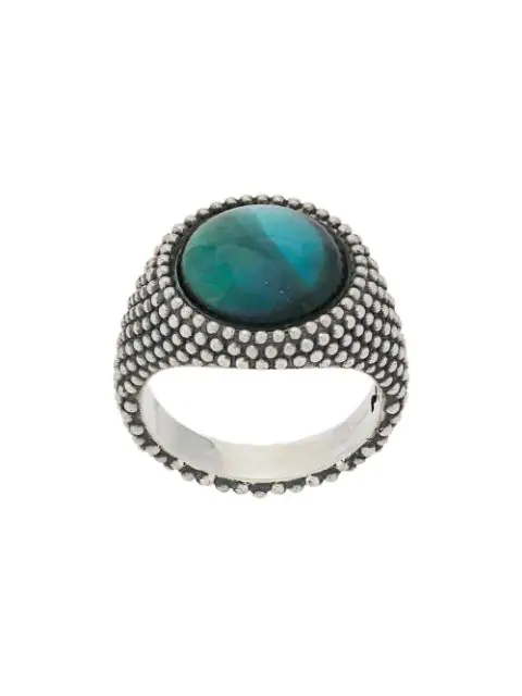 Nove25 Green Stone Dotted Round Signet Ring In Silver