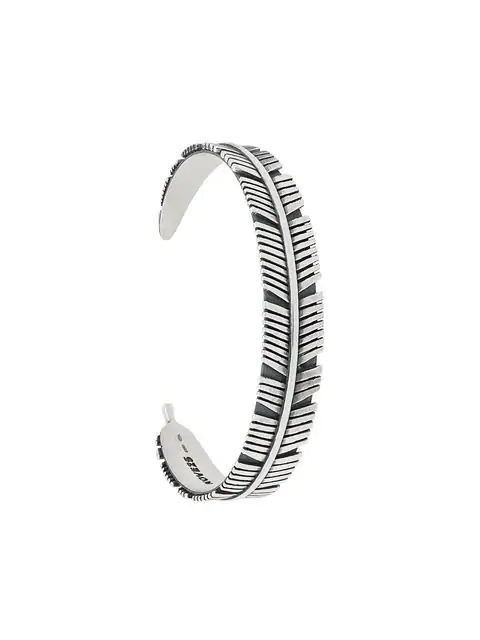 Nove25 Abstract Feather Bangle In Silver