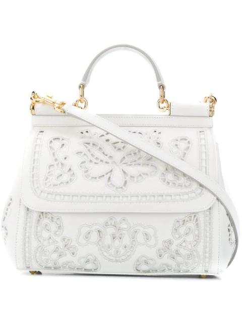 Dolce & Gabbana Sicily Tote Bag In White