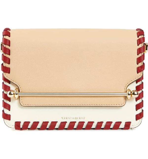 Strathberry Mini East/west Whipstitch Leather Shoulder Bag In Beige/ Vanilla