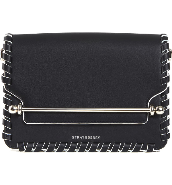 Strathberry Mini East/west Whipstitch Leather Shoulder Bag In Black