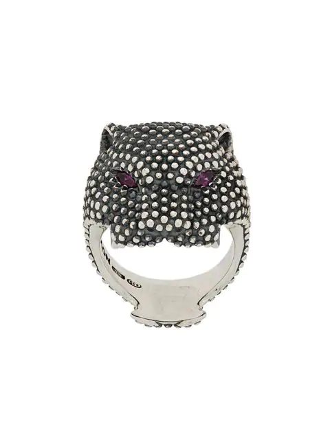 Nove25 Dotted Panther Ring In Silver