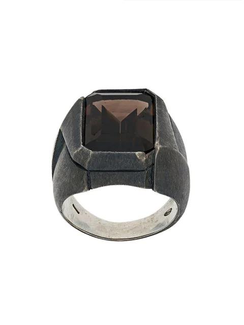 Nove25 Antiqued Rectangular Signet Ring In Grey