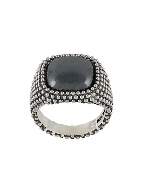 Nove25 Pyrite Stone Dotted Square Signet Ring In Silver