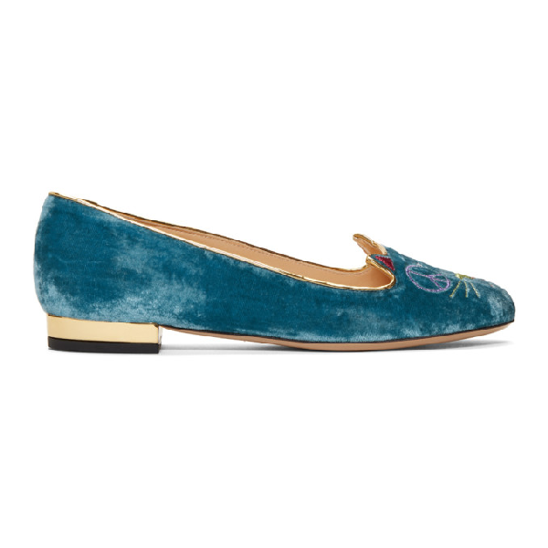 Charlotte Olympia Velvet Peaceful Kitty Flats In 09220 Blue