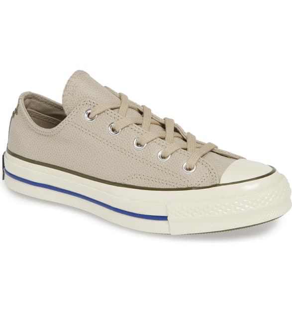 Converse Chuck Taylor All Star Chuck 70 Ox Leather Sneaker In Papyrus/ Field Surplus/ Egret