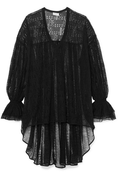 Saint Laurent Asymmetric Lace Top In Black