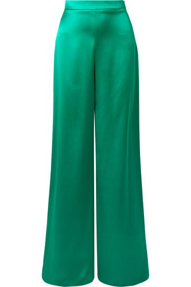 Cushnie Silk-Satin Wide-Leg Pants In Jade