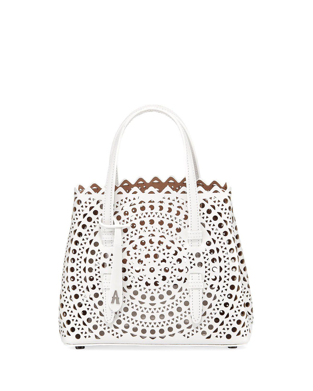 10fe742f7 AlaÏA Mina Mini Vienne Laser-Cut Tote Bag In White | ModeSens