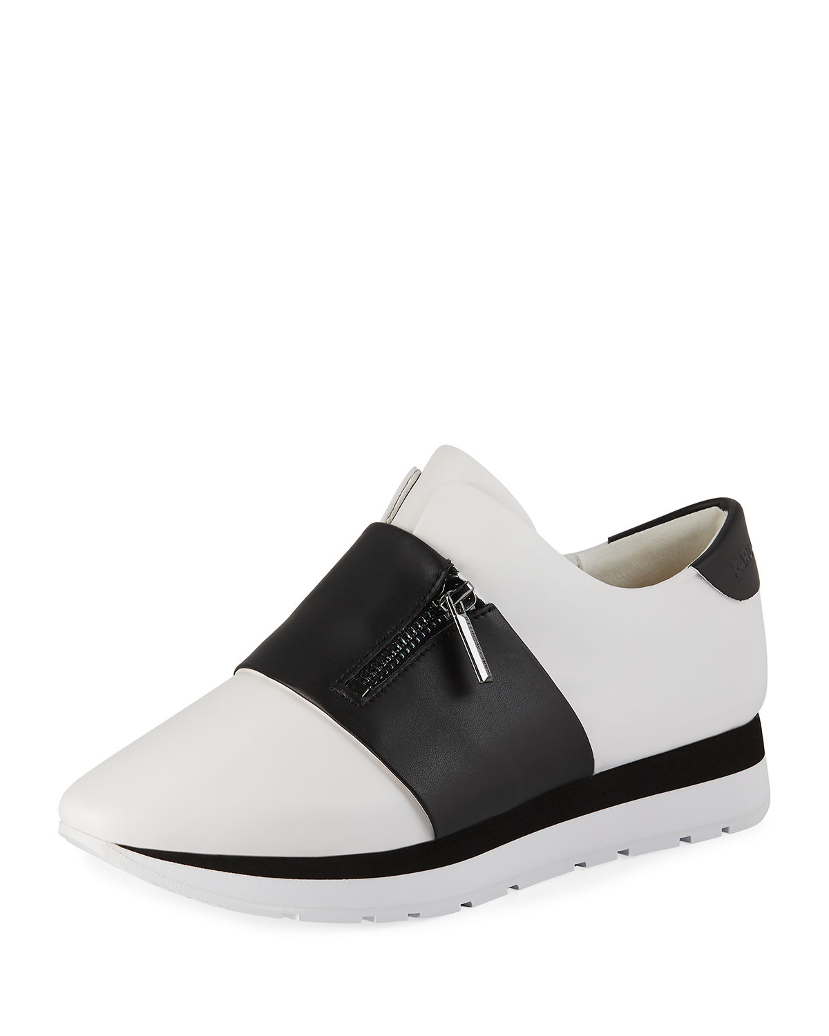 ec187a453ade Karl Lagerfeld Kenley Banded Slip-On Leather Sneakers In White ...