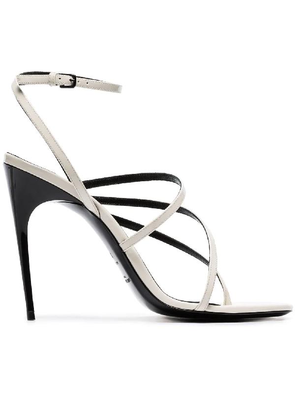 Saint Laurent Paris Minimalist Patent-Leather Sandals In White