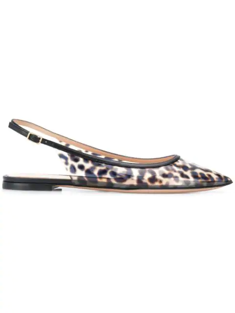 Gianvito Rossi Patent Leather-trimmed Leopard-print Pvc Slingback Point-toe Flats In Black
