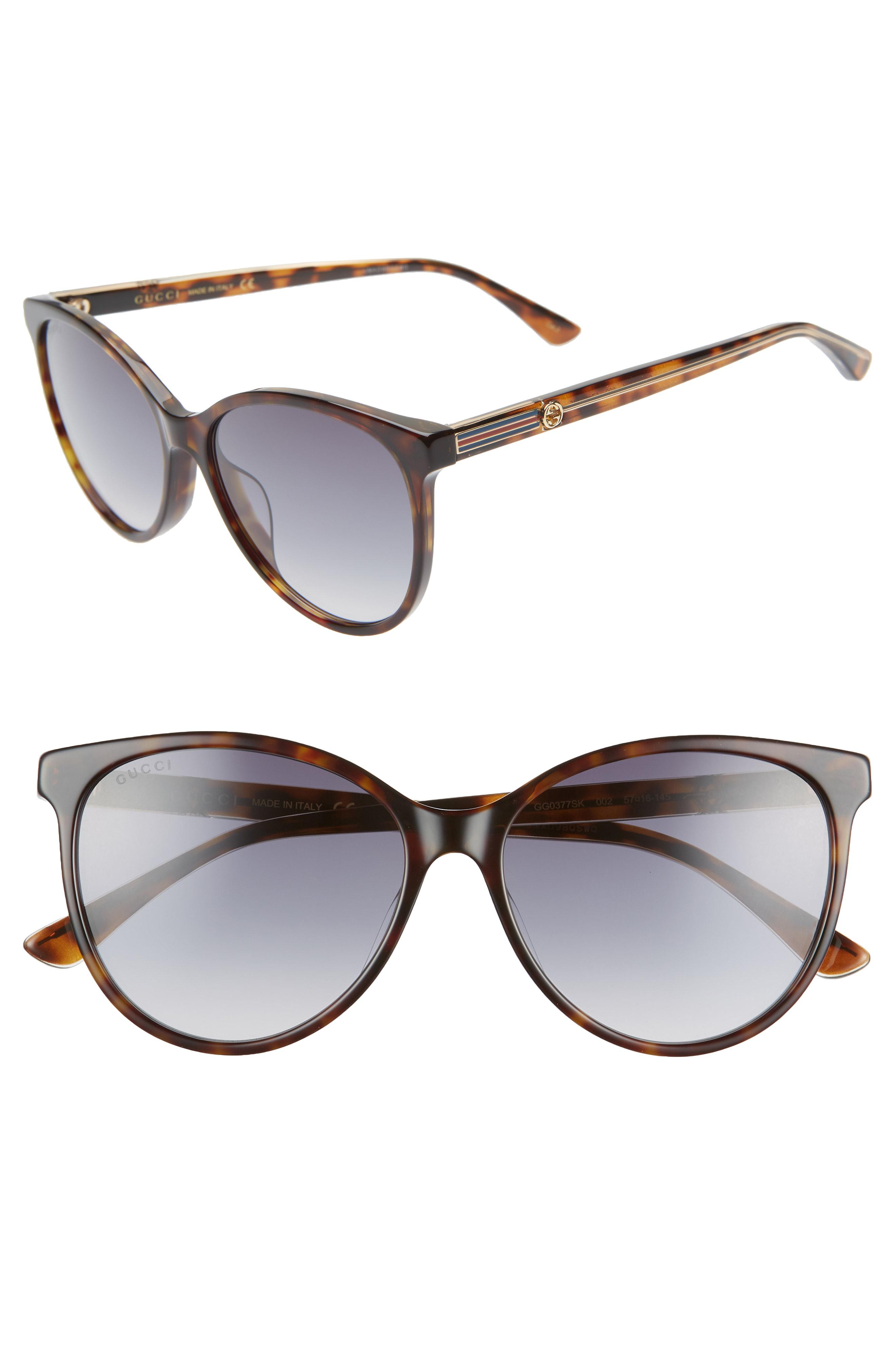 058deb8d3f91 Gucci 57Mm Cat Eye Sunglasses - Dk Havana/Cry/Grey Gradient | ModeSens