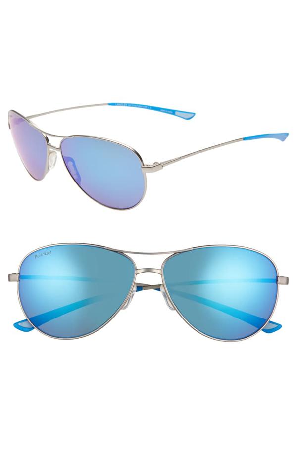 Smith Langley 60mm Chromapop(tm) Polarized Aviator Sunglasses In Matte Ruthenium/ Blue