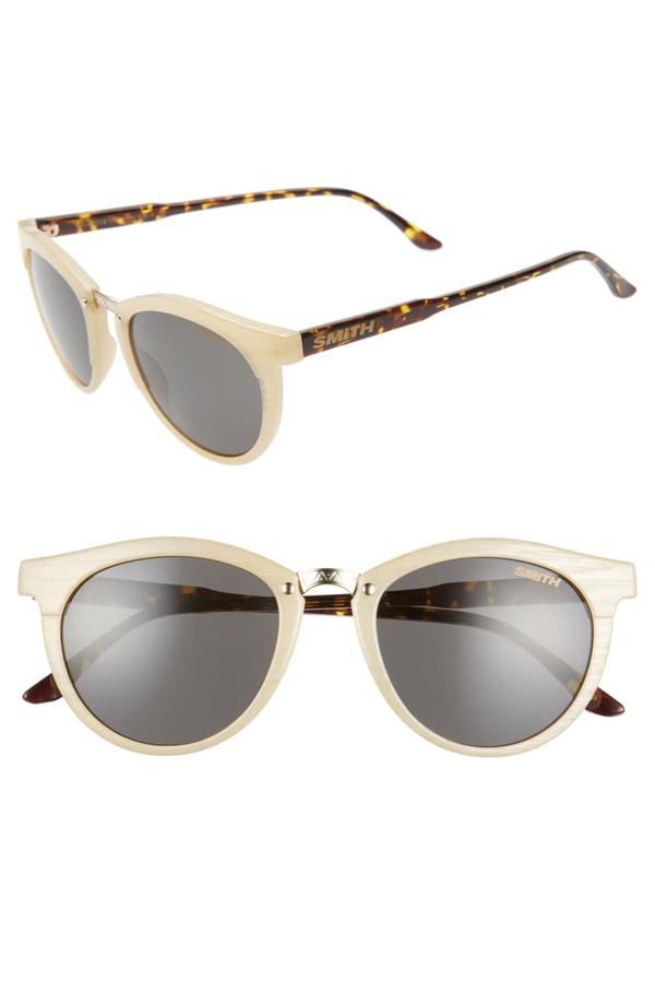 Smith Questa 50mm Chromapop(tm) Round Sunglasses In Ivory Tortoise