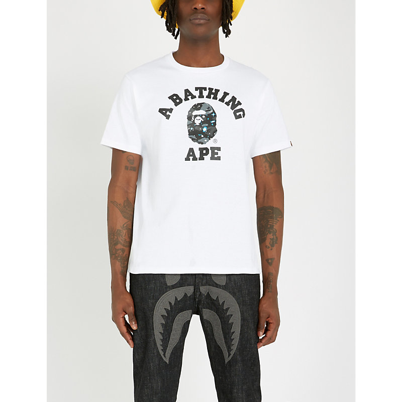 f15be44b A Bathing Ape Space Camo College Cotton-Jersey T-Shirt In White ...