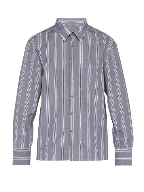 Lanvin Striped Cotton-Poplin Shirt In Blue