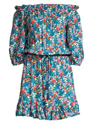 Shoshanna Off-The-Shoulder Floral Tunic Dress In Navy Multicolor