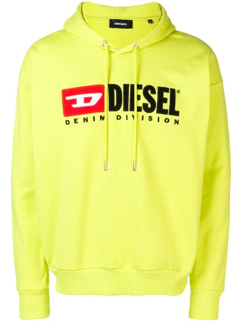 Diesel Logo Graphic Cotton Hoodie In Yellow