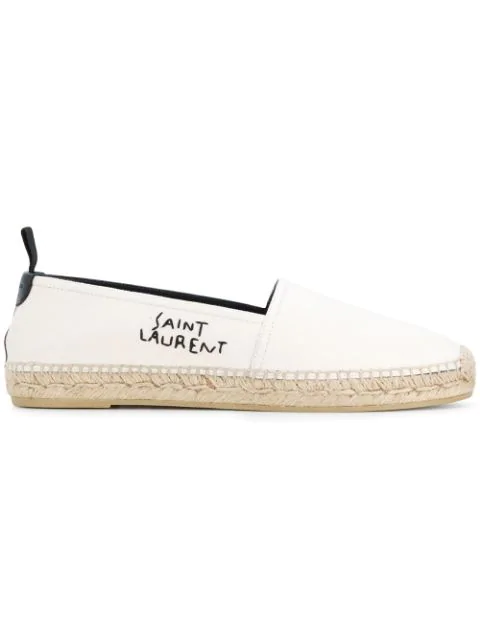 Saint Laurent Logo-Embroidered Leather-Trimmed Canvas Espadrilles In Neutrals