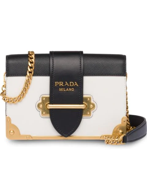 Prada Cahier Leather Cross-Body Bag In White