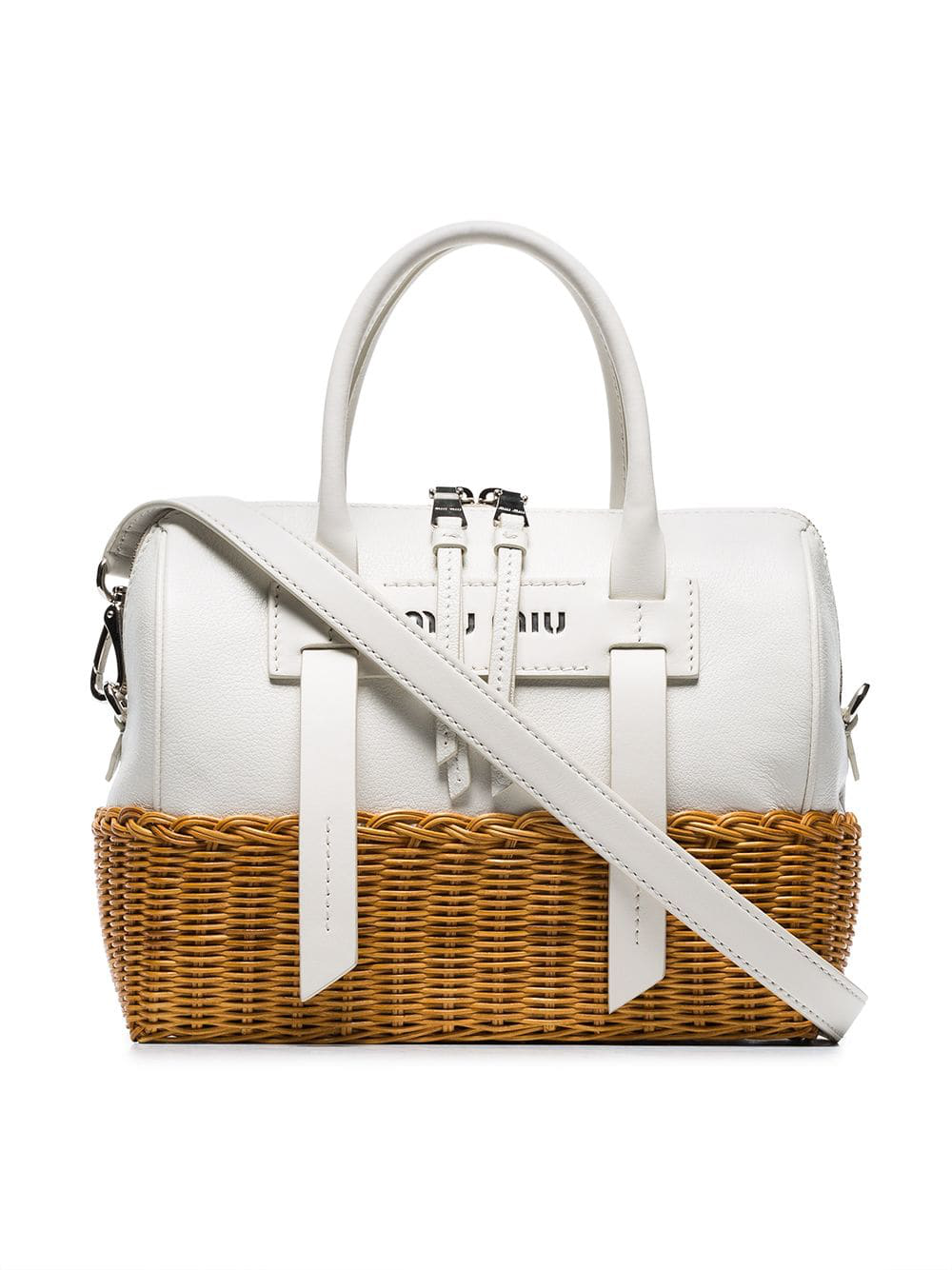 Miu White Wicker And Madras Leather Bag
