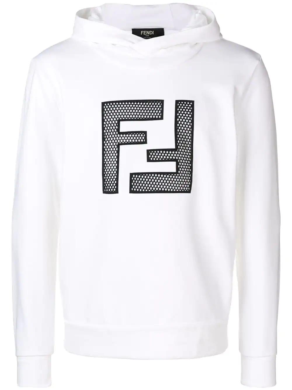 9ac96f2c3829 Fendi Embroidered Ff Logo Hoodie - White