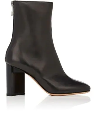 Maison Margiela Cut-Out Block-Heel Leather Ankle Boots In Black