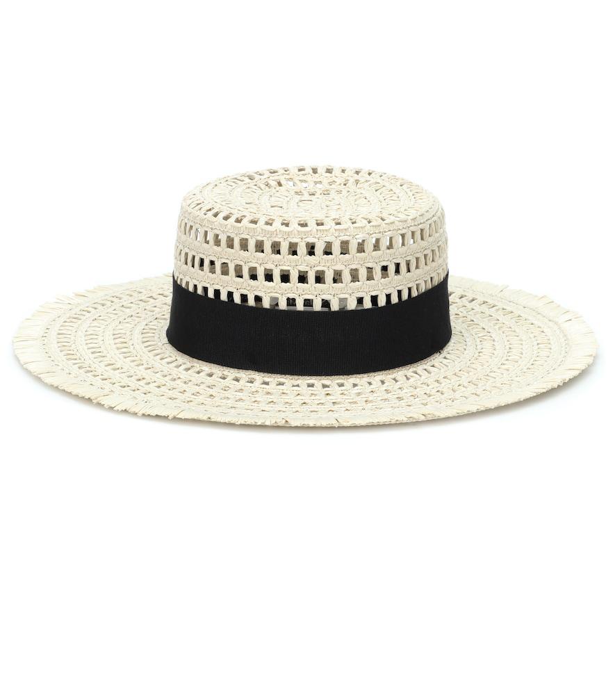 Max Mara Acqua Raffia Hat In White