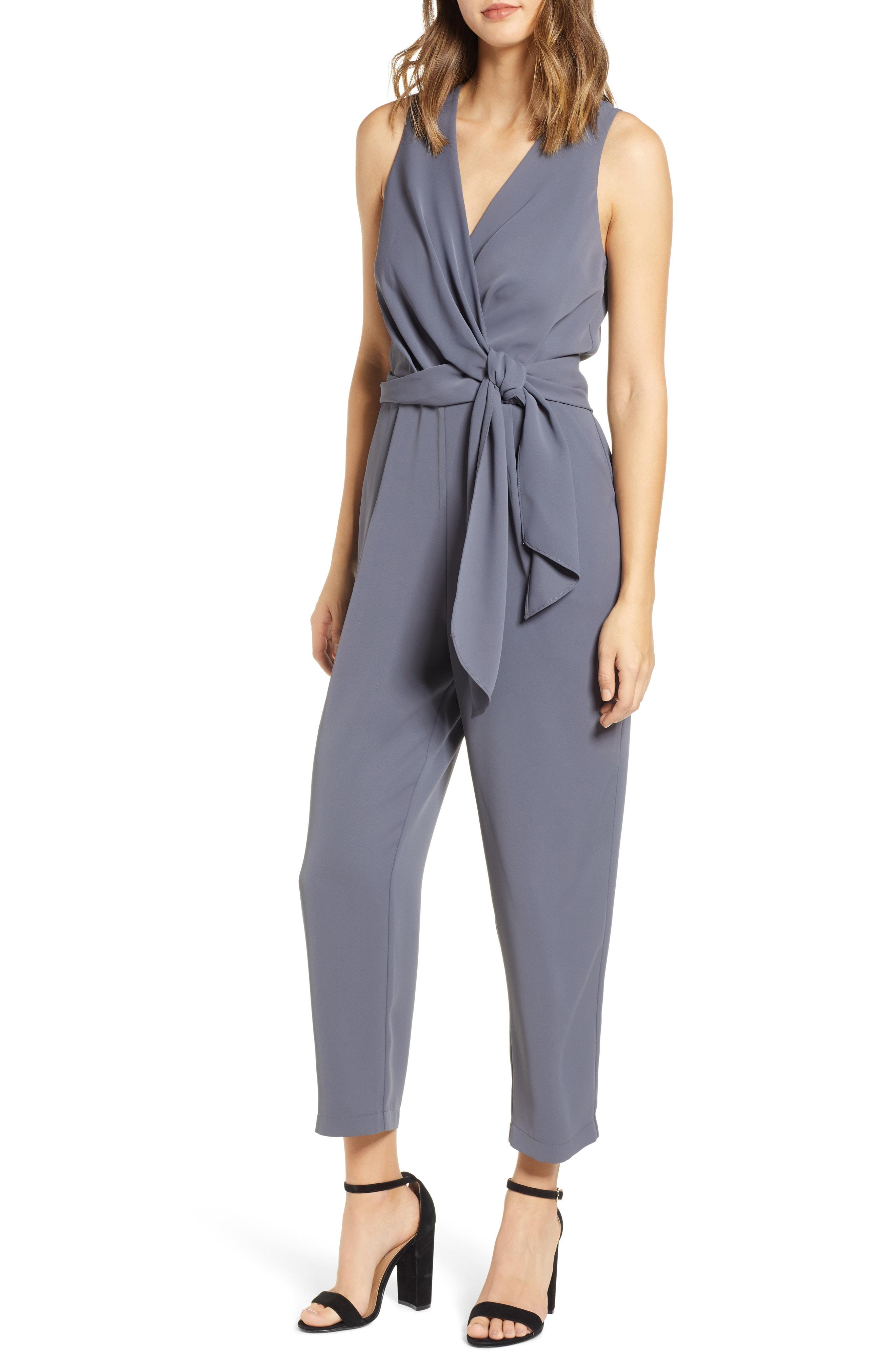 e66afc790f005 Astr Side Tie Jumpsuit In Grey | ModeSens
