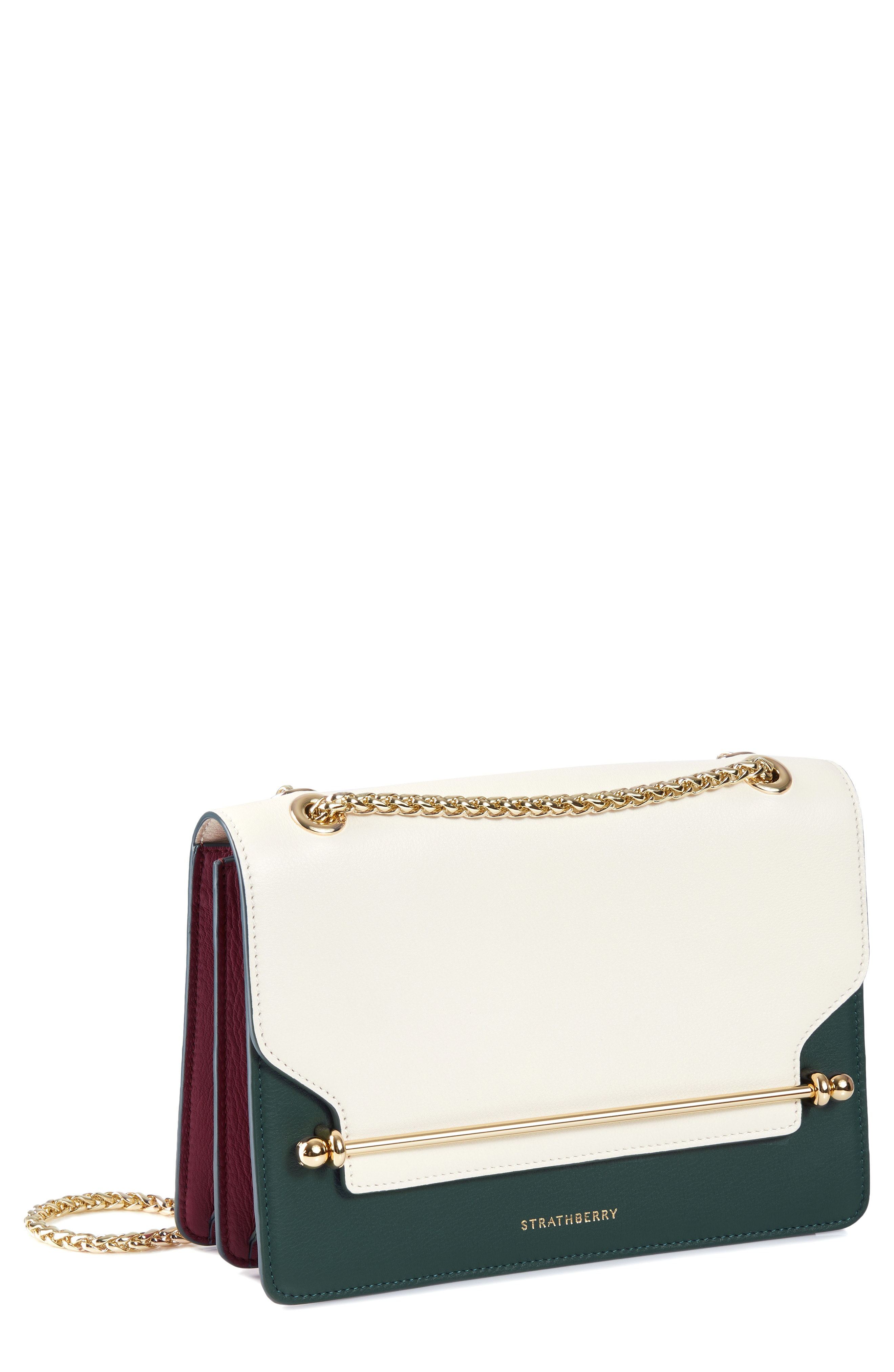 Strathberry East West Colorblock Leather Crossbody Bag - Ivory In Vanilla  Bottle  Green  434da65936766