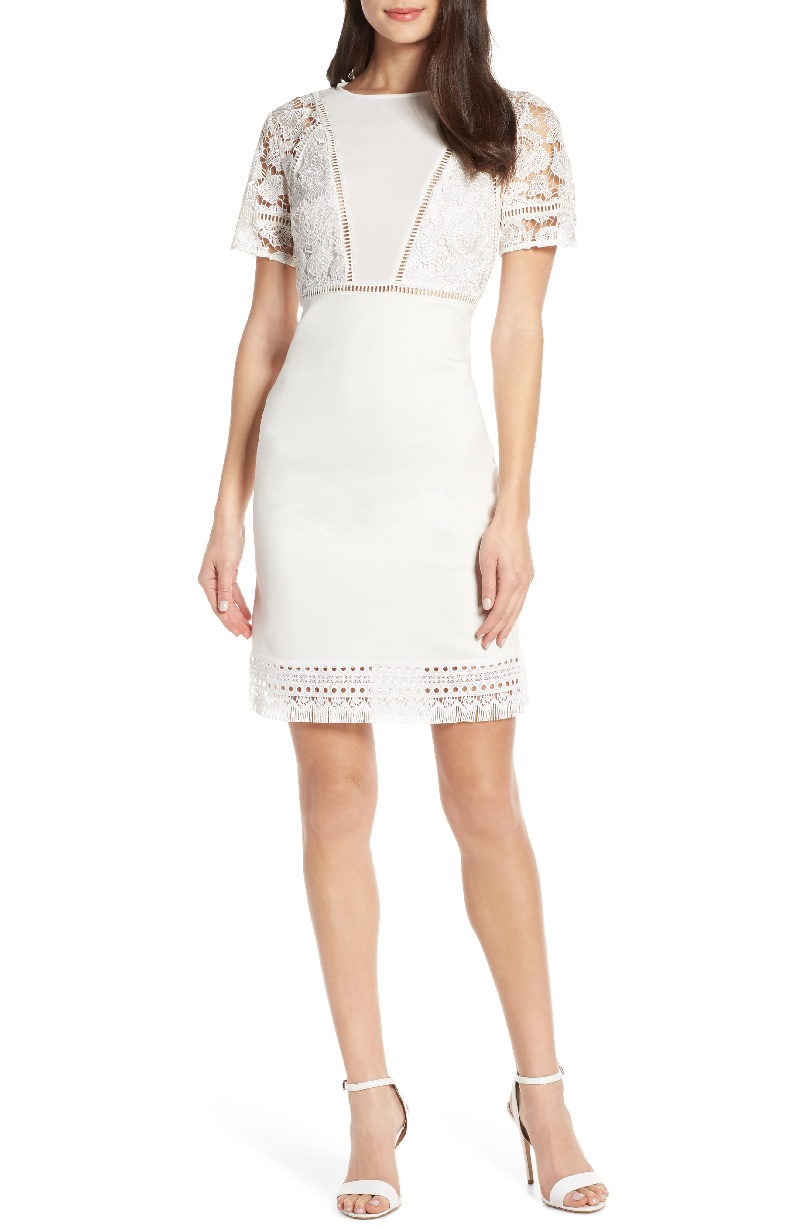e52afe10b44 French Connection Viola Lula Jersey   Lace Dress In Summer White ...