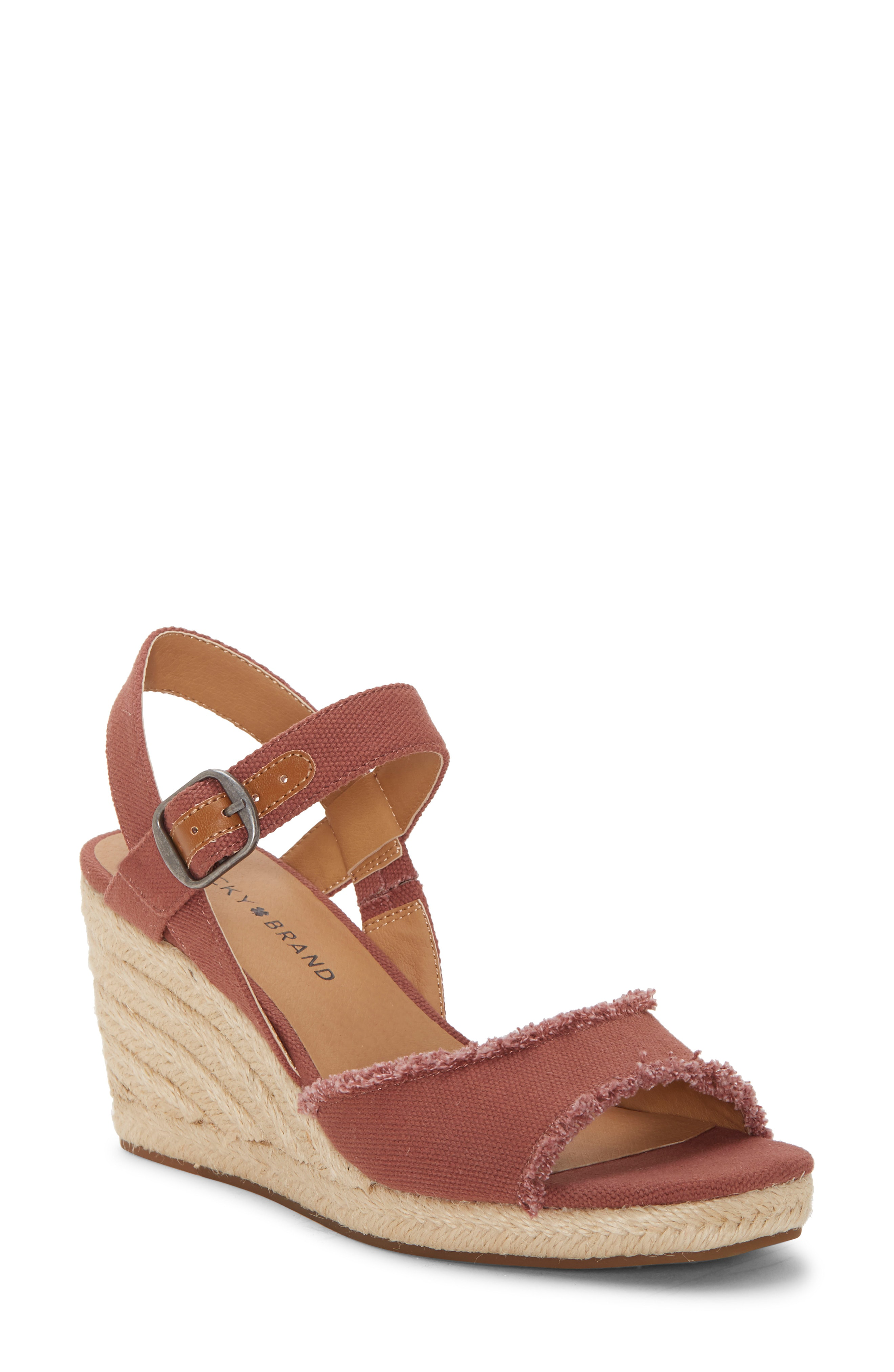 8b7f65834cd Lucky Brand Mindra Espadrille Wedge Sandal In Mauve Fabric