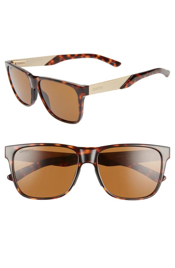 Smith Lowdown Steel 56mm Chromapop(tm) Polarized Sunglasses In Matte Black/ Black